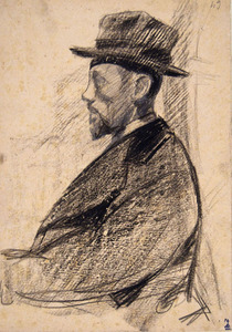 Libero ANDREOTTI - Drawing-Watercolor - PORTRAIT OF A MAN WITH BEARD AND HAT, IN PROFILE