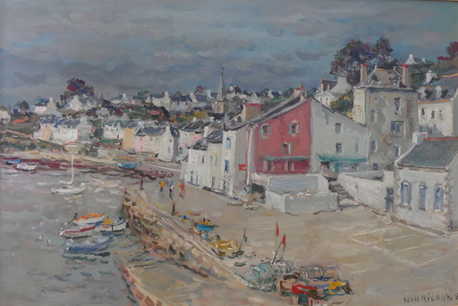 Jean RIGAUD - Pittura - Belle-ile, Sauzon, le port