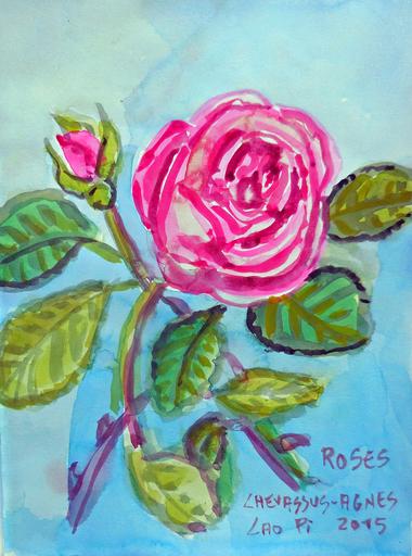 Jean-Pierre CHEVASSUS-AGNES - Drawing-Watercolor - roses rouges de mon jardin