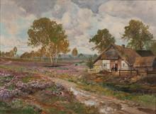 """Alois ARNEGGER - Pintura - """"Bauernhaus in der Lüneburger Heidelandschaft im Spätsommer"""""""