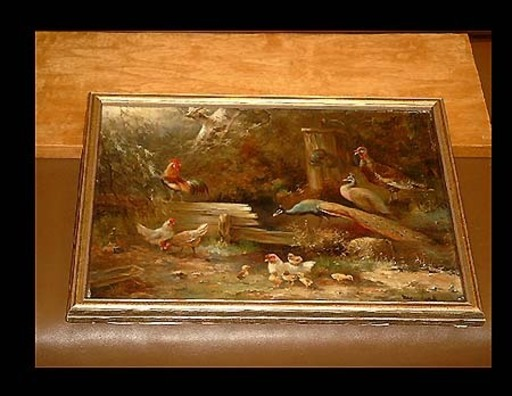 Hendrik BREEDVELD - Gemälde - Hühnerhof mit Pfauen und Fasan an Wasserstelle