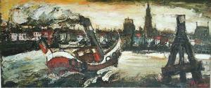 Jacques DELVAUX - Painting - stoomboot voor antwerpen
