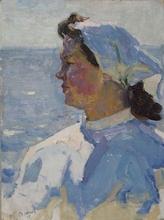 "Vladimir Grigor'evic VLASOV - Pintura - Woman and the Sea"", Soviet Socialist Realism"
