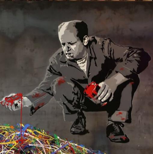 MR BRAINWASH - Painting - Jackson Pollock (on Steel Panel)