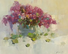 Vahe YEREMYAN - Painting - Vase of Lilacs