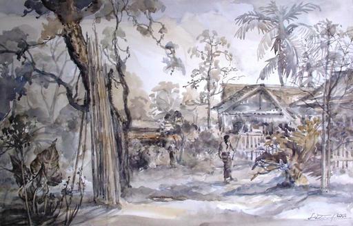 U LU TIN - Painting - View from U Lu Tin's house