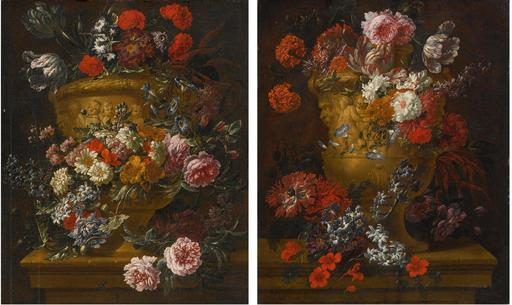 Jean-Baptiste BOSSCHAERT - Pittura - Still Lifes of Flowers in Stone Urnes. A Pair.