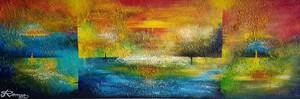 Romeo DOBROTA - Painting - Day, night and Four Seasons, Acrylic on canvas, 24x72 inch,