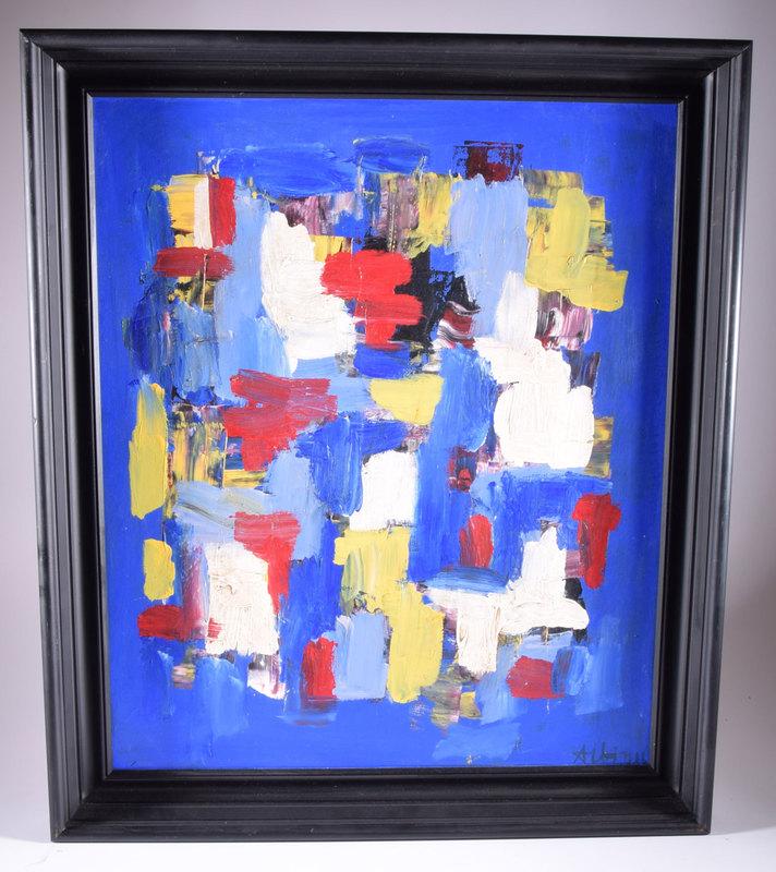 Olga ALBIZU - Pintura - Stripes on blue