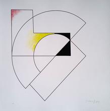 Gottfried HONEGGER - Grabado - Composition géométrique (rouge, jaune, noir)