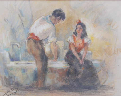 Yves DIEY - Drawing-Watercolor - Couple à la cruche