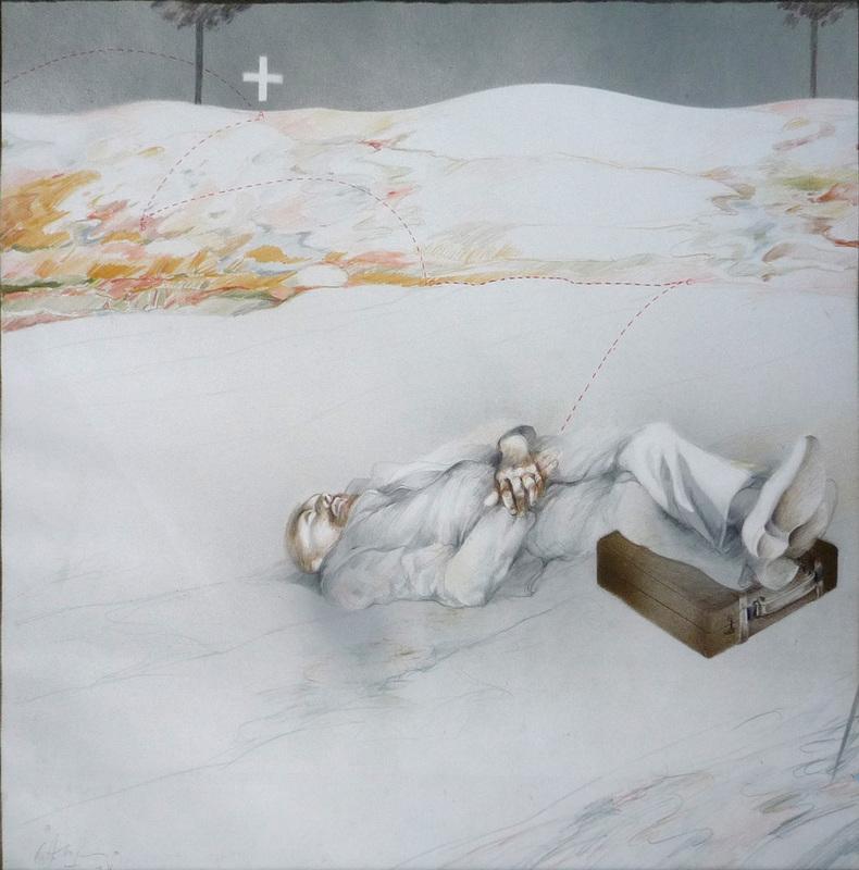 Carlos ALONSO - Zeichnung Aquarell - Fine dell'autunno