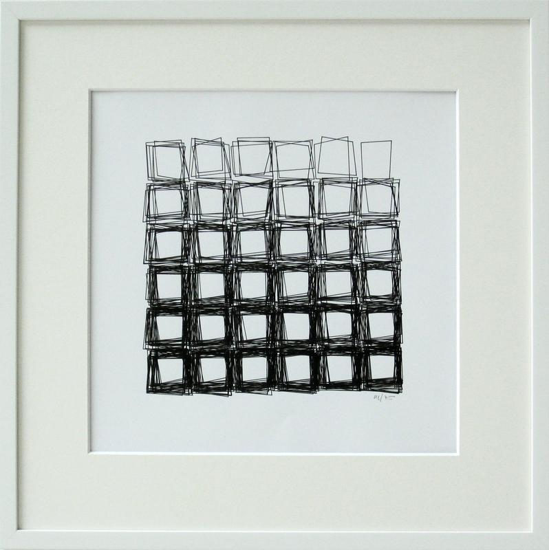 Véra MOLNAR - Drawing-Watercolor - Structure de quadrilatères