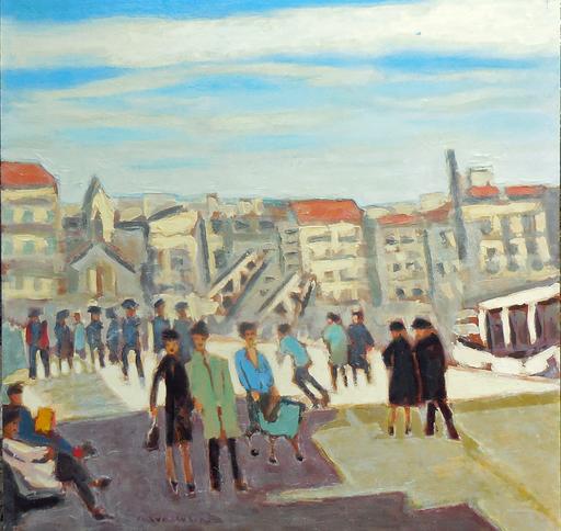 """Jean-Pierre CHEVASSUS-AGNES - Painting - promenade sur le  """" vieux port """" à MARSEILLE (13)"""