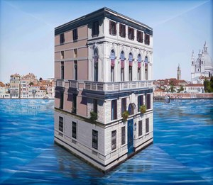 Patrick HUGHES - Painting - Little Palace