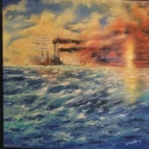 Jean-Claude LELIEVRE - Peinture - un jour dans la tourmente