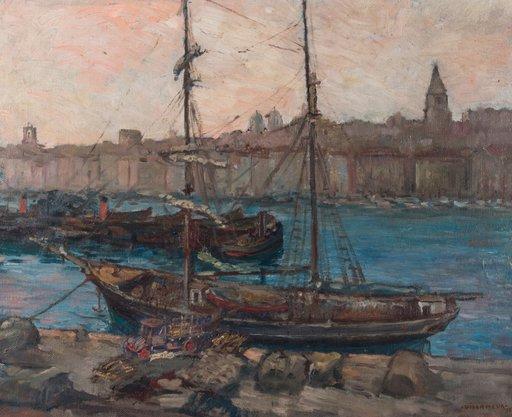 Gustave VILLAMEUR - Pintura - Marseille: le port 1932