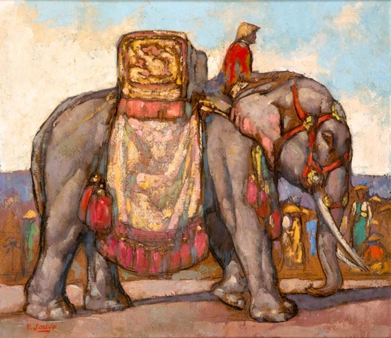 Paul JOUVE - Peinture - Eléphant carapaçonné et son cornac, Indochine