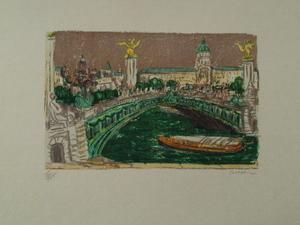 André COTTAVOZ - Print-Multiple - Paris,Le Pont Alexandre III,1985.