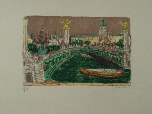 アンドレ・コタボ - 版画 - Paris,Le Pont Alexandre III,1985.
