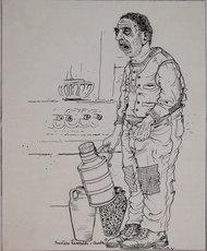 Bruno CARUSO - Drawing-Watercolor - Lo scemo del paese