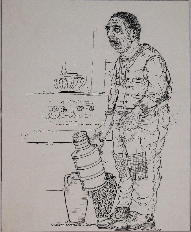 Bruno CARUSO - Dibujo Acuarela - Lo scemo del paese