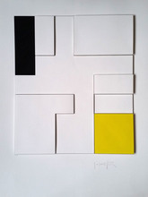 Gottfried HONEGGER - Grabado - Composition géométrique 3D (jaune, noir)
