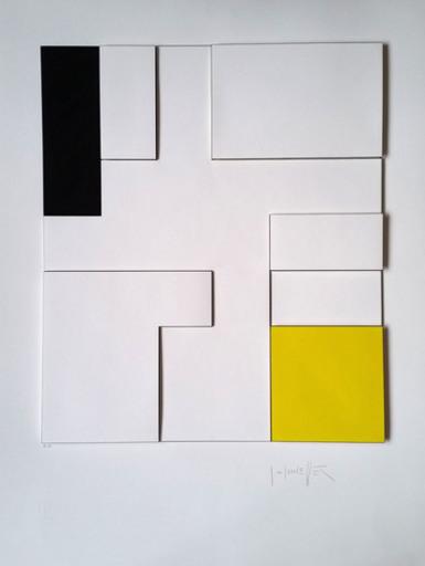 Gottfried HONEGGER - Print-Multiple - Composition géométrique 3D (jaune, noir)