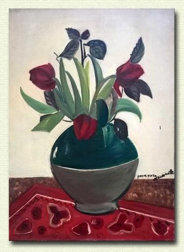 Anouk SOUEF - Peinture - Bouquet de fleurs à la nappe rouge