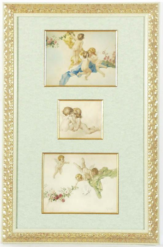 "Virgilio TOJETTI - 水彩作品 - ""Ceiling Designs"", Three Watercolours"