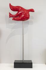 "NOUNA - Sculpture-Volume - ""L'envol"" oiseau grand modèle rouge"