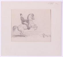 "Hans Johann HAAG - Drawing-Watercolor - ""Horseman"", 1875, Drawing"