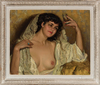 José CRUZ HERRERA - Painting - Retrato femenino con copa