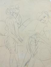 基希纳 - 水彩作品 - Standing Woman and Sewing Girl | Stehende Frau und nähendes