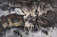 Oskar RABIN - Painting - Lianozovo, Winter