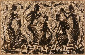 Mwenze KIBWANGA - Dessin-Aquarelle - Village scene - Women performing braids