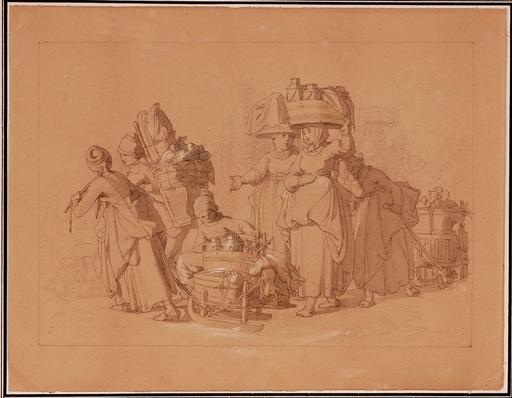 """Jakob GRÜNENWALD - Zeichnung Aquarell - """"On the Way to Market"""" by Jakob Grünenwald, ca 1850"""