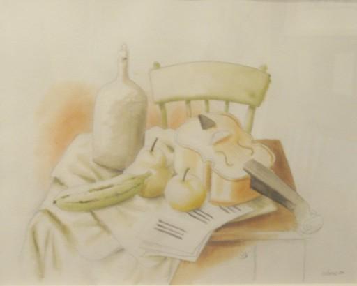 Fernando BOTERO - Drawing-Watercolor - Natura morta con violino