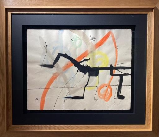 Joan MIRO - Drawing-Watercolor - Chien Oiseau Dans la nuit II
