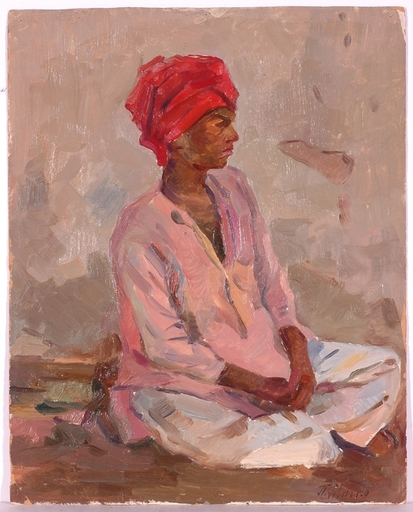 "Piotr MAGRO - Painting - ""Woman from India"", Oil Painting, 1950s"