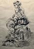 Henri Jules Charles DE GROUX - Dibujo Acuarela - Femme à l'enfant