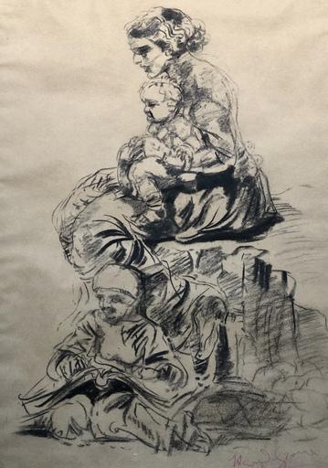 Henri Jules Charles DE GROUX - Zeichnung Aquarell - Femme à l'enfant