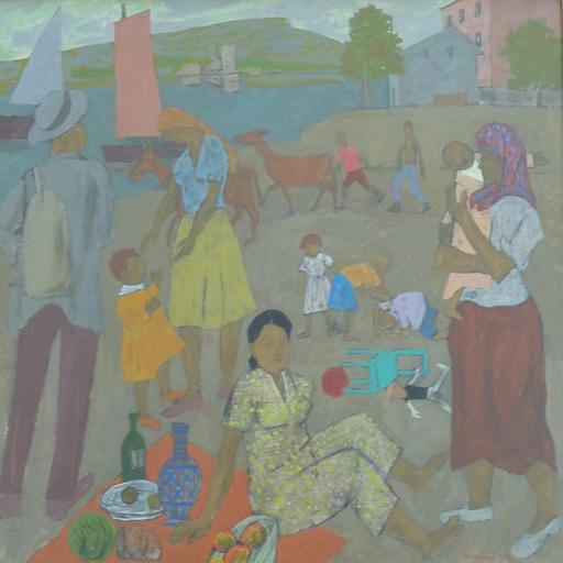 Grégoire MICHONZE - Painting - Pique Nique beside the Lake