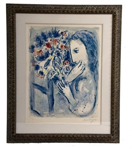 Marc CHAGALL - Grabado - Femme pres de la fenetre (Woman by a Window)