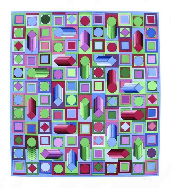Victor VASARELY - Stampa-Multiplo - Composition cinétique