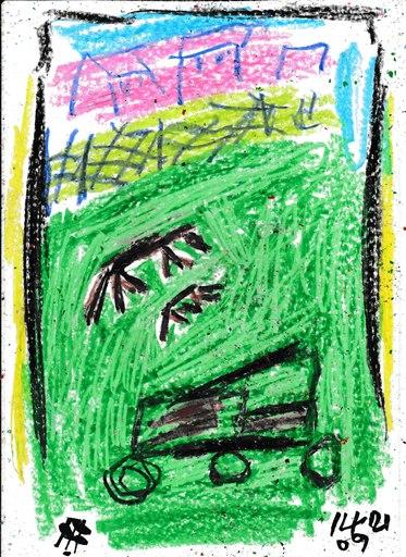 Harry BARTLETT FENNEY - Disegno Acquarello - mum horse and foal seen grazing 2(14 09 21)