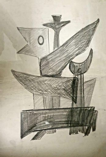 Marcel JANCO - Dibujo Acuarela - Drawing for a Sculpture