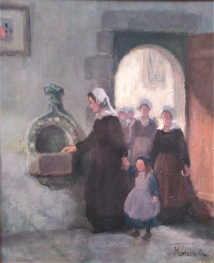 Alfred MARZIN - Painting - A l'église