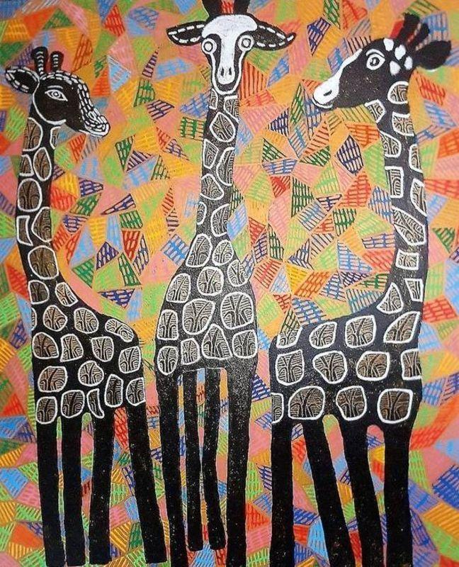 Annemarie HOFFMANN - Painting - 3 BaumGiraffen schwarz    (Cat N° 6056)