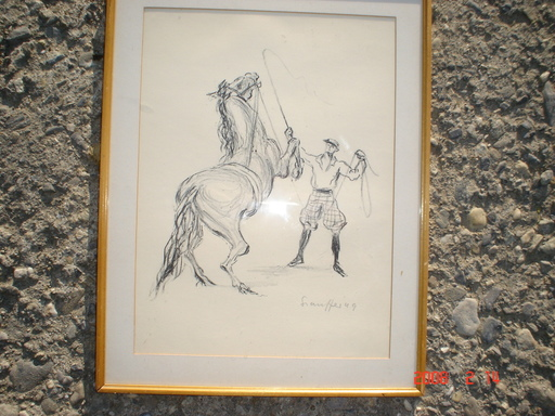 Fred STAUFFER - Drawing-Watercolor - dressage